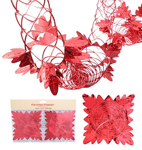 Christmas Concepts Pack Of 2 9ft Foil Garland Festive Hanging Decorations - Christmas Decorations (RED)