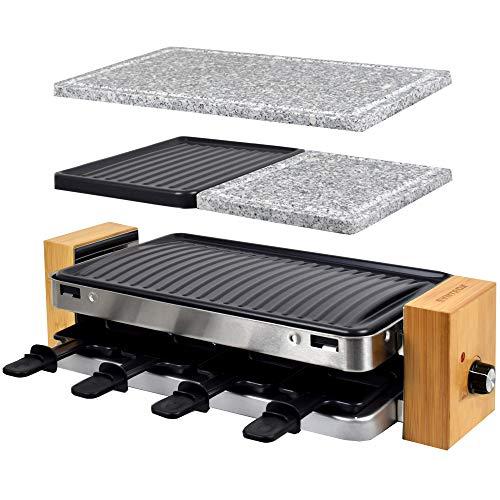 Syntrox Germany RAC-1500WB Lugano Raclette mit 4 Platten mit antihaftbeschichteter Grillplatte und Natursteinplatte (Heißer Stein) für 8 Personen, Holz Design