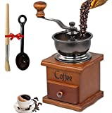 Moongiantgo Manual Coffee Grinder Coffee Bean Burr Grinder Mill Adjustable Powder Setting Hand Cranked Coffee Grinding Machine with Cleaning Brush & Spoon (Steel Grinding Core)