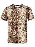 THWEI Men Short Sleeve Round Neck Snake Skin Print T Shirt-L(Fit 40-42)