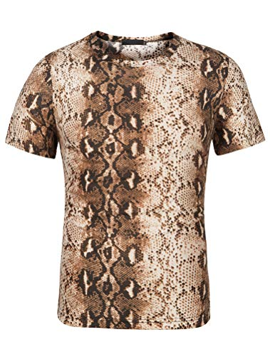 THWEI Men Short Sleeve Round Neck Snake Skin Print T Shirt-S(Fit 34-36)