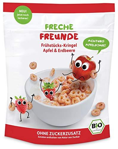 FRECHE FREUNDE Bio Frühstücks-Kringel Apfel & Erdbeere, ohne Zuckerzusatz, Cerealien ohne Zusatzstoffe für Kinder & Babys ab 1 Jahr, 6er Pack (6 x 125 g)