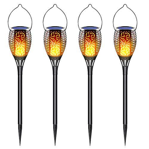 LazyBuddy - Linterna solar parpadeante LED para exteriores, impermeable, decoración de paisaje, jardín, camino, jardín, césped, 4 unidades