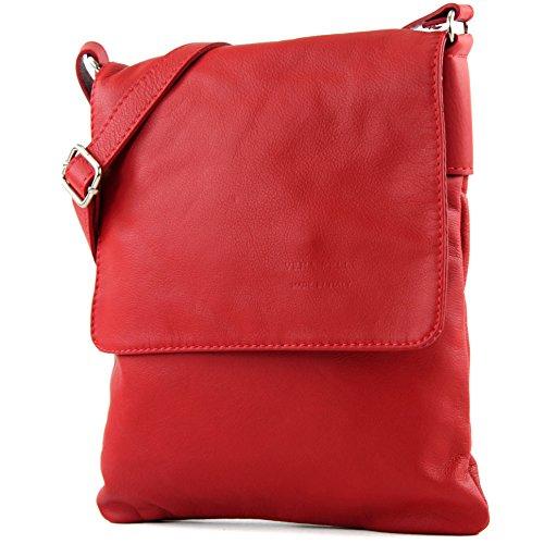 modamoda de - T33 - ital Umhänge/Schultertasche aus Nappaleder, Farbe:Rot
