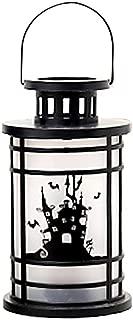 Halloween Simulation Kerosene Lamp Decorative Lantern Portable Candle Light Party Props (Large Size, Round) (Haunted House)