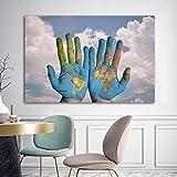 Geiqianjiumai Arte Mano Tierra Abstracta Lienzo Pintura Pared Dormitorio decoración sin Marco Pintura 60x90 cm