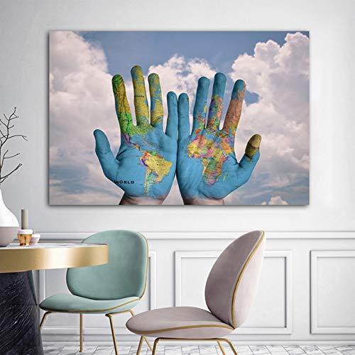 Art wereldkaart in handen canvas schilderkunst affiches en prints muurkunst voor woonkamer moderne wooncultuur 40x60cm