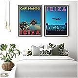 JLFDHR ZNNHEROVintage World Travel City Ibiza Póster Impreso Lienzo Pintura Paisaje Pared Arte Decoración para Sala De Estar-40X60Cmx2 Sin Marco