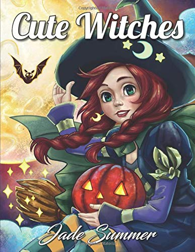 Cute Witches: An Adult Coloring Book with Magical Fantasy Girls, Adorable Gothic Scenes, and Spooky Halloween Fun