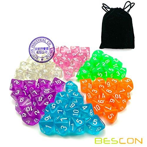 60pcs Assorted Colored Translucent D10 (1-10) Pack, 6X10pcs 10 Sides Dice Transparent Polyhedral Dice D10 Set in Black Velvet Pouch