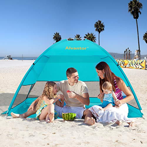 Alvantor Coolhut Beach Tent Beach Umbrella Outdoor Sun Shelter Cabana Automatic Pop Up UPF 50+ Sun shade Portable Camping Fishing Hiking Canopy Easy Setup Windproof (PATENT PENDING) 7014V 1-3 Person