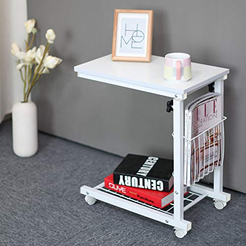 End Table Sofa Table Coffee Table Snack Storage Table C Shaped Side Table with Wheels for Home Living Room Office,White