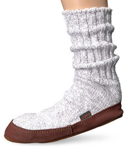 Acorn Unisex Slipper Sock, Light Grey Cotton Twist, Medium