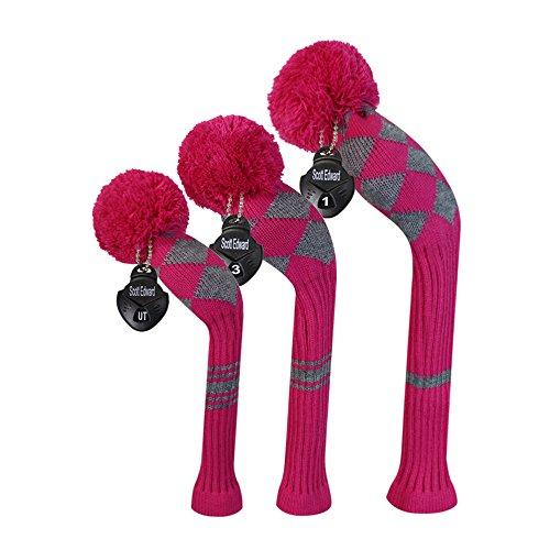 Scott Edward Stripes Style Knitted Golf Club Head Covers Set of 3, fit for Driver Wood(460cc), Fairway Wood, Hybrid(UT), for Men/Women Golfers, Individualized Looking and Washable (Pink Grey)