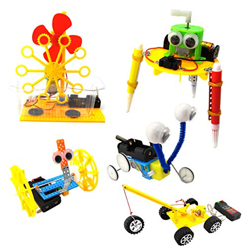 EUDAX DIY STEM Toys for Kids,Electric Motor Robotic Science Kits,Building Science Experiment Kits for Boys and Girls-Doodling, Balance Car, Reptile Robot ,Bubble Machine,Engineering Crane(5 Kits)