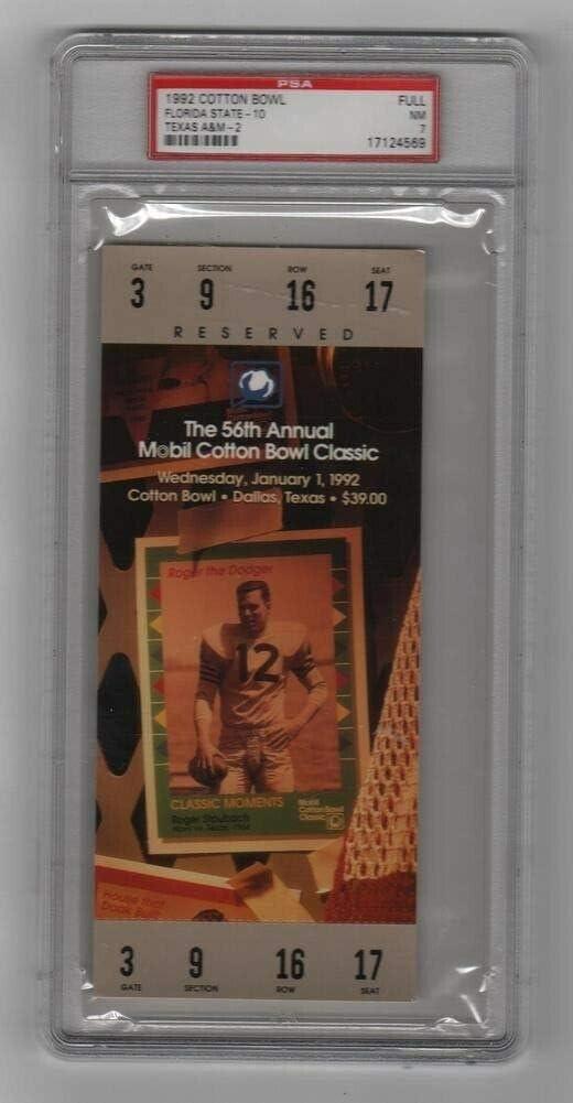 1992 Cotton Bowl Full Ticket Florida AM Texas State v OFFer Seminoles Sales