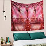 yrfchgj Tapices Pink Flowers Wall Handing Tapestry Psychedelic Palace Abstract Painting Decorative Tapestries Boho Beach Throw Towel Bed Sheets 150X200Cm