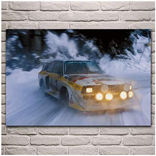 HuaFan Carteles e Impresiones de Coches de Carreras de Nieve Rallye, Arte de Pared en Lienzo para dormitorios, imágenes para...