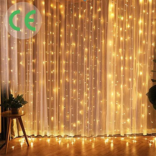 CREASHINE Tenda Luci LED 3 x 3 m, Tenda Luminosa Natale Esterno Impermeabilità IP44 Tenda Luminosa con Telecomando 8 Modalità di Illuminazione per Natale, Interno, Camera da Letto, Giardino