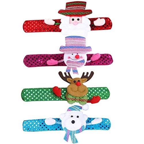 Luccase Weihnachten Armbänder LED Weihnachtsmann Schneemann Rentier Eisbär Form Patting Armband Slap Bracelet Party Decor Weihnachten LED Wristband Hand Ring, 21cm x 3cm