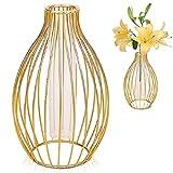 Vaso Metallo Geometrico, Senteen Vaso In Vetro Oro Vaso Ferro Battuto Vaso In Vetro Per Piante Da Interno Vaso a Bulbo Vetro Vaso Decorativo Vetro Vaso Metallo Fiori, Per Ufficio Decorazione Domestica