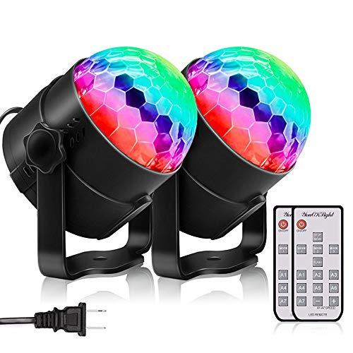 YouOKLight ステージライト・ディスコボールライト・演出・結婚式・/パーティー・KTV・カラオケ・バー照明 舞台ライト LED 3W RGB多色変化 音声起動 リモコン付き 2個入