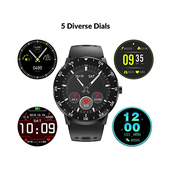 HopoFit Smartwatch Reloj Inteligente, HF06 Pantalla Táctil Completa Circular Impermeable Podómetro Pulsómetros, Monitor… 2