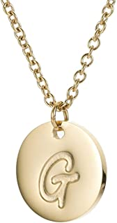 MMTTAO Initial Necklace 18K Gold Filled Disc Letter Alphabet Monogram Necklaces for Women Girls Stainless Steel Personalized Pendant Necklace A-Z
