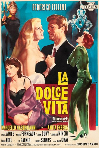 FELLINI'S LA DOLCE VITA movie poster BEAUTIFUL PAINTING scenes 24X36 (reproduction, not an original)