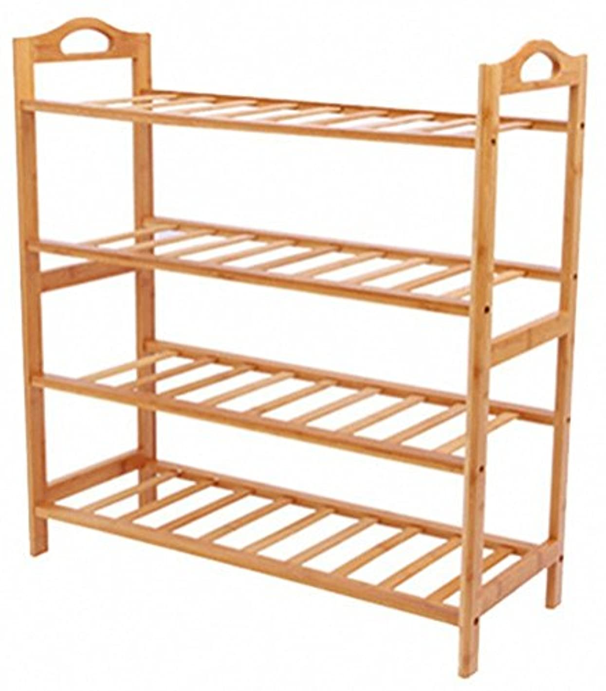Tooboo Natural Bamboo 4-Tier Shoe Rack Entryway Shoe Shelf Storage Organizer (4-Tier)