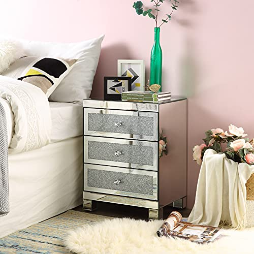 Mirrored Nightstand with 3 Drawers, Modern Small Crystal Diamond End Table Mirror Accent Silver Table, Nightstand with Drawers Bedroom Mini Cabinet from Mireo Fine Furniture