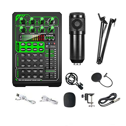 Tablero de efectos de sonido, kit de micrófono de condensador, tijeras de suspensión de micrófono ajustables, adecuado para interacción de red multiplataforma en tiempo real