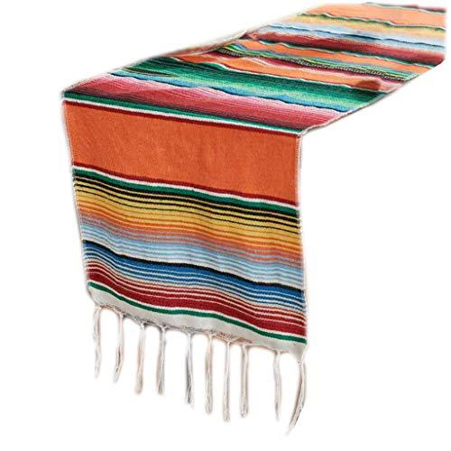 smallJUN 35X213Cm Mexikanische Decke Helle Regenbogenstreifen Gewebte Tischläufer Fransen Baumwolle Tischdecke Festival Party Home Tischdekoration Tisch Flagge Orange