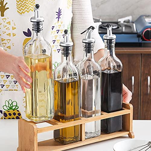 Oliedispenser, Oliefles Glas Olie Azijn Dispenser Oliefles Keuken Oliecontainer Lekvrije Tuit Stofdicht Saus Cruet 500 Ml Set Van 4