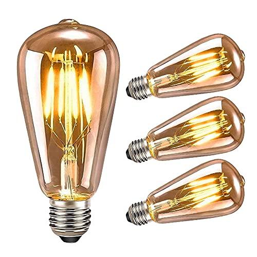 Punvot Edison Glühbirne E27, LED Vintage Glühbirne E27, Retro Birne 4W Glühbirne für Hochzeit Nostalgie Antike Lamp Beleuchtung im Haus Café Bar Konzert Schlafzimmer Esszimmer, Amber Warm, 3 Stück