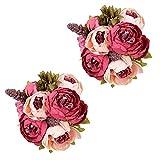 IPOPU - Flores de peonía artificiales para decoración, 2 piezas de flores rosas, flores de seda para ramos de novia para centros de mesa de boda (rosa oscuro)