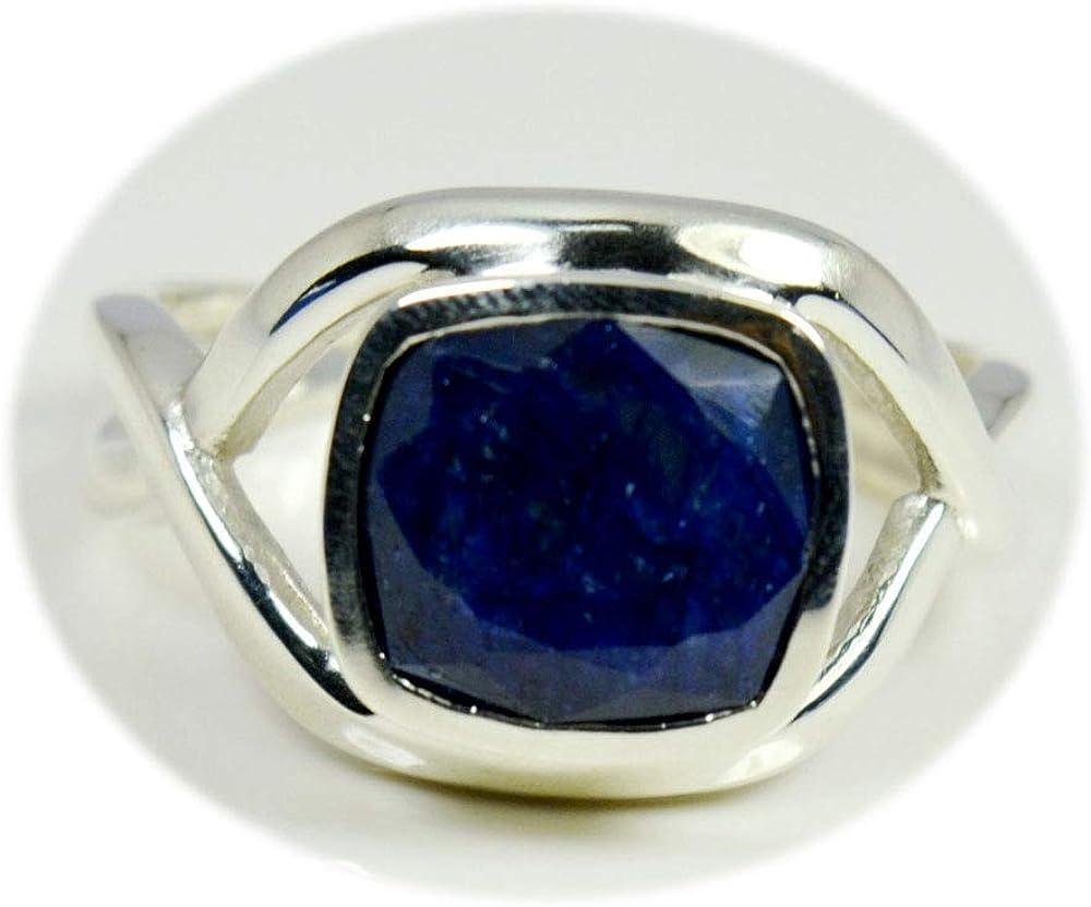 55Carat Financial sales sale Genuine Blue Sapphire Ring B Max 46% OFF 925 Cushion Silver Cut