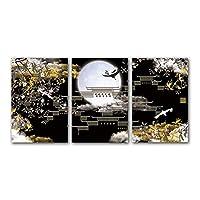 """キャンバス絵画フラワークレーン鳥雲風景ポスターHDプリントリビングルームの壁アートモダンな家の装飾19.6"""" x27.5""""(50x70cm)3pcsフレームレス"""