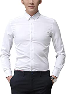 Men's Slim Fit Dress Shirts Spread Collar Poplin Shirt Wrinkle Free Shirts