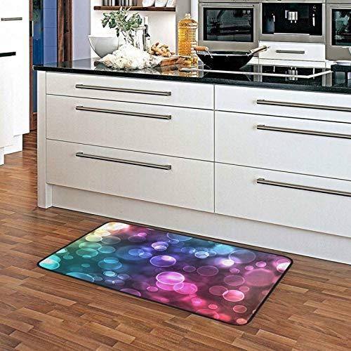Felpudo grande con diseño de lunares, diseño de galaxia, arcoíris, antideslizante, para interior, 99 x 51 cm