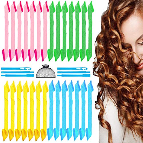 31 Pieces Hair Curlers, Spiral Curls Styling Kit, Heatless Hair Rollers, No Heat Wave Hair Curlers...