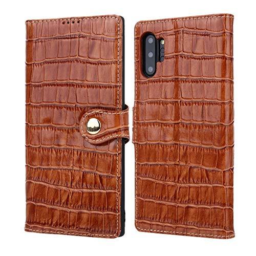 Leren tasje compatibel met Samsung Galaxy Note 10+/Note 10 Plus-koffer, lederen etui met kaart en contant geld zakken, Folio Kickstand case telefoonhoesje, bruin