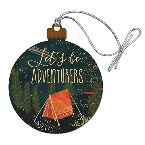 GRAPHICS & MORE Let´s Be Adventurers Tent Camping Night Moon Shooting Stars Wood Christmas Tree Holiday Ornament