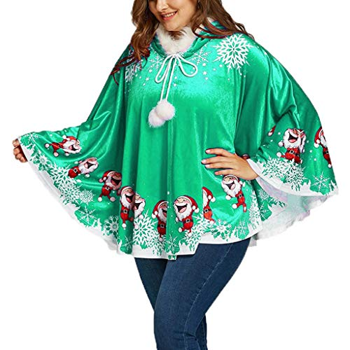 Best Bargain YAnGSale Tops Women Santa Claus Print Cloak Matching Fuzzy Ball Hooded Cape Outwear (Gr...