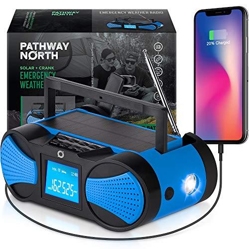 Pathway North NOAA Weather Radio – Hand Crank Solar Radio - LCD Screen - AM/FM/WB Radio Stations – Emergency LED Flashlight, SOS Signal, 4000 mAh Cell Phone Charger
