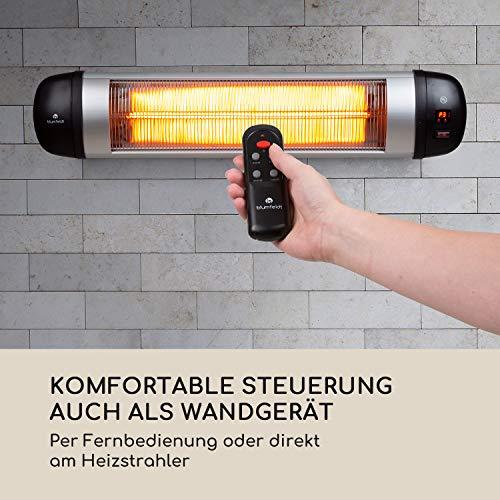 Blumfeldt Rising Sun • Infrarot-Heizstrahler • Carbon-Heizelement • gezielte Wärmeabgabe • Höhenverstellbarkeit von 70 cm • Stativ-Standfuß • 850 / 1650 / 2500 Watt Leistung • Abschalt-Timer bis 24 St. • LED-Anzeige am Gerät • Fernbedienung • Aluminium - 3
