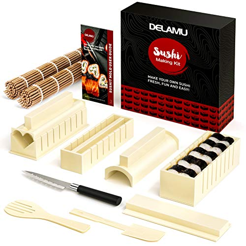 Delamu Sushi Making Kit, Magic Sushi Maker for Beginner, 13 in 1 DIY Sushi Mold Deluxe Edition with 2x Bamboo Sushi Mats, 1x Sushi Knife, 8x Sushi Molds, 1x Spatula, 1x Serving Fork, 1x User Guide