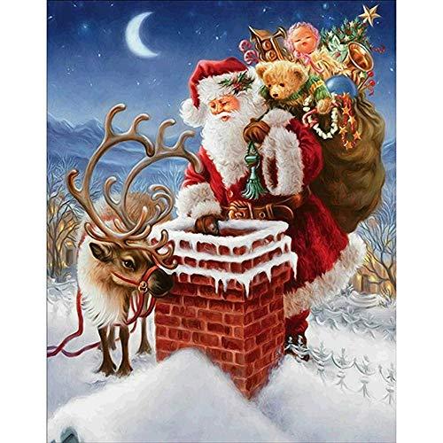 Peinture de diamant, Dinglong 5D broderie peinture strass Le père Noël/chat/wapiti de Noël Croix brodée diamant broderie mosaicques (B)