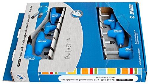 Unior 193HXSCS Stiftschlüssel mit Kugelkopf und T-Griff für Innensechskantschrauben, Set im Sichtkarton, HXS2.5-HXS10/7