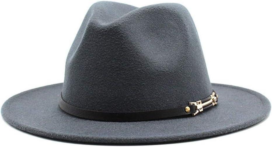 LHZUS Hats Men's Women's Wide Brim Cotton Jazz Fedora Hat Dress Hat Tribe Party Formal Panama Hat (Color : Dark Gray, Size : 59-61cm)